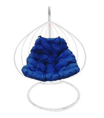 """фото Подвесное кресло """"Для двоих"""" с синей подушкой Белое"""