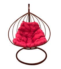 """фото Подвесное кресло """"Для двоих"""" с малиновой подушкой Коричневое"""