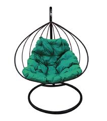 """фото Подвесное кресло """"Для двоих"""" с зелёной подушкой Черное"""