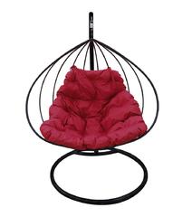"""фото Подвесное кресло """"Для двоих"""" с бордовой подушкой Черное"""
