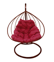 """фото Подвесное кресло """"Для двоих"""" с бордовой подушкой Коричневое"""