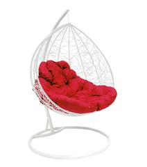 """фото Подвесное кресло """"Для двоих"""" Ротанг, с малиновой подушкой Белое"""