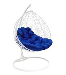 """фото Подвесное кресло """"Для двоих"""" Ротанг, с синей подушкой Белое"""