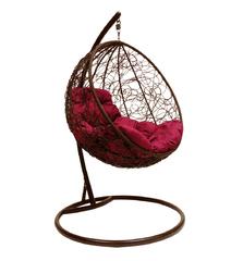 """фото Подвесное кресло """"Круглое"""" с ротангом, с бордовой подушкой Коричневое"""