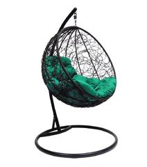 """фото Подвесное кресло """"Круглое"""" с ротангом, с зелёной подушкой Черное"""