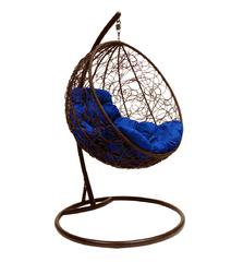 """фото Подвесное кресло """"Круглое"""" с ротангом, с синей подушкой Коричневое"""
