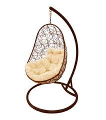 """фото Кресло подвесное """"Овал"""" с ротангом, с бежевой подушкой Коричневое"""