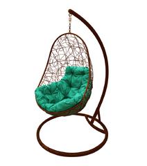 """фото Кресло подвесное """"Овал"""" с ротангом, с зелёной подушкой Коричневое"""