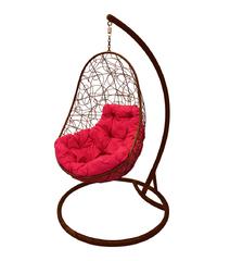 """фото Кресло подвесное """"Овал"""" с ротангом, с малиновой подушкой Коричневое"""