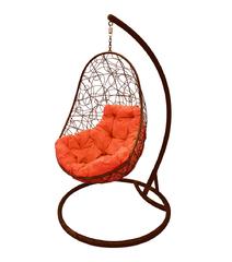 """фото Кресло подвесное """"Овал"""" с ротангом, с оранжевой подушкой Коричневое"""