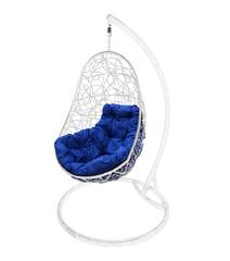 """фото Кресло подвесное """"Овал"""" с ротангом, с синей подушкой Белое"""