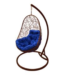 """фото Кресло подвесное """"Овал"""" с ротангом, с синей подушкой Коричневое"""