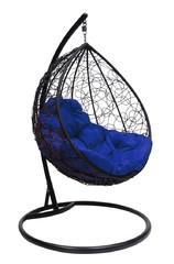 фото Подвесное кресло-кокон КАПЛЯ РОТАНГ черное + каркас
