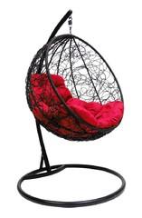 фото Подвесное кресло-кокон КРУГЛЫЙ РОТАНГ черное + каркас