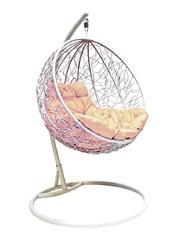 фото Подвесное кресло-кокон КРУГЛЫЙ РОТАНГ белое + каркас