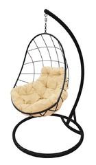 фото Подвесное кресло-кокон ОВАЛ черное + каркас