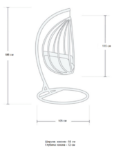 Размер №1 Подвесное кресло-кокон  КАПЛЯ коричневое + каркас