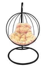 фото Подвесное кресло-кокон КРУГЛОЕ черное + каркас