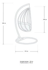 Размер №1 Подвесное кресло-кокон КРУГЛОЕ черное + каркас