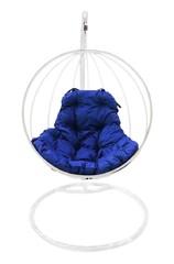 фото Подвесное кресло-кокон КРУГЛОЕ белое + каркас