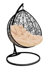 фото Подвесное кресло-кокон ДЛЯ ДВОИХ РОТАНГ черное + каркас