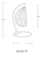 Размер №1 Подвесное кресло-кокон ДЛЯ ДВОИХ РОТАНГ белое + каркас